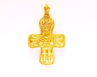 Silver Gold Plated Filigree Birka Cross VIKING KRISTALL Pendant