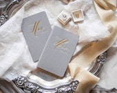 His and Her Gold Foil Press wedding vow book on grey moleskine-set of 2