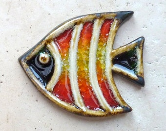 Hand Made Angel Fish Ceramic & Glass Wall Plaque Tile Bathroom Frost Proof