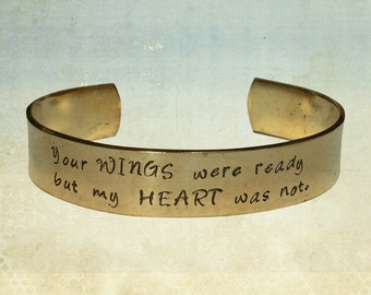 """Your Wings Were Ready But My Heart Was Not Jewelry Hand Stamped 1/2"""" Brass Polished Texture Graduation Gift Wedding Mother Daughter"""