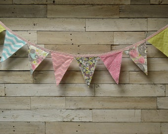 Fabric Pennant Banner, Fabric Pennant Garland, Fabric Flag Banner, Fabric Flag Garland, Nursery Decor, Party Decor, Photography Prop