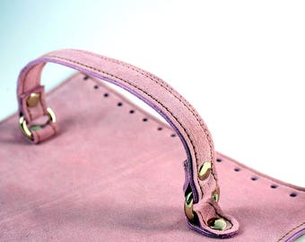 Pink suede bag cap with handle Dimensions: 25x19 cm or custom suede leather bag accessories straps,purse straps,anses cuir, bag
