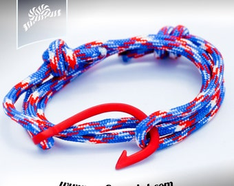 Red fish hook nautical rope bracelets