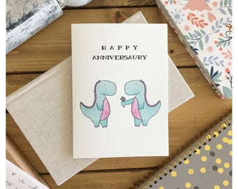 ANNIVERSARY CARD // funny anniversary card, dinosaur card, cute card, cute anniversary card, card for wife, card for her, gift for her, pun