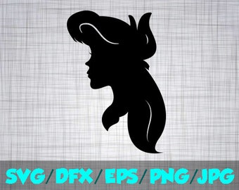 Ariel SVG Disney Iron On Decal Cutting File / Clipart in Svg, Eps, Dxf, Png, and Jpeg for Cricut & Silhouette Princess Little Mermaid Side