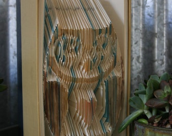 Great Teacher Gift-Folded Book Art-From Recycled Books
