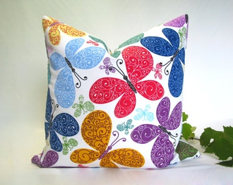 Butterfly~cushion cover ~pillow cover ~ Multicolour ~Blue~ Green ~ Yellow ~ Red ~ Orange ~Purple~ Lilac ~20 inch