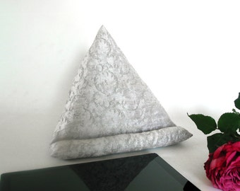 Silver embroidery Silk~Ipad-Iphone stand~Ipad pillow~Ipad cushion~Tablet pillow~Mobile Device support~Kindle~E-reader~Metalic~Design No43