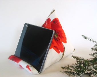 Poppy print fabric~Ipad-Iphone stand~Ipad pillow~Ipad cushion~Tablet pillow~Mobile Device  support~Kindle~E-reader~Design No44