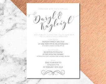 Simple Wedding Invitation Blush Design - Pack of 10 with Envelope - A5