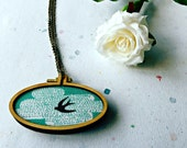 Swallow necklace, statement necklace, mini hoop necklace, cloud, fabric necklace, wooden jewellery, wing,  bird jewellery, wooden necklace