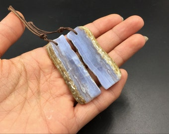 Drilled Blue Lace Agate Earring Pair Natural Blue Lace Agate Slice Beads Paired Gemstone Earring Beads For Jewelry Making PB12