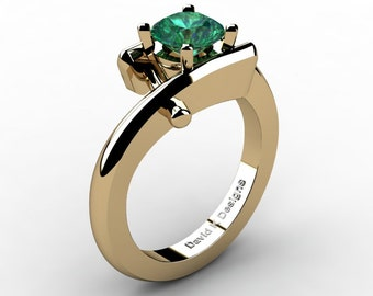 Modern French 14K Yellow Gold 1.0 Ct Emerald Diamond Ring R1100-14KYGDEM