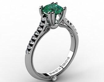 Classic Italian 14K White Gold 1.0 Ct Emerald Diamond Engagement Ring R1130-14KWGDEM
