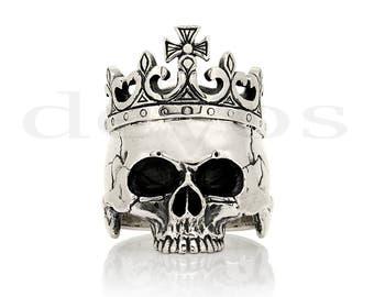 Skull ring - Half Skull and Crown Ring - Statement Ring - Crâne - tête de mort