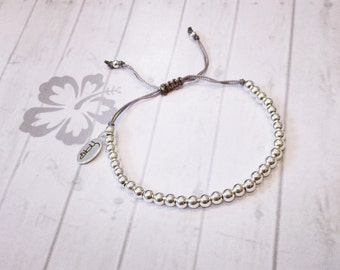 Simple Sterling Silver Beaded Bracelet