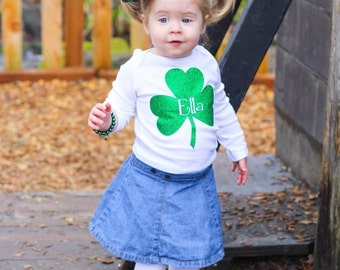 St. Patricks Day Shirt, Shamrock Shirt, Personlized St. Patricks Day Shirt, Green Glitter Shamrock Shirt, First St. Patricks Day Shirt