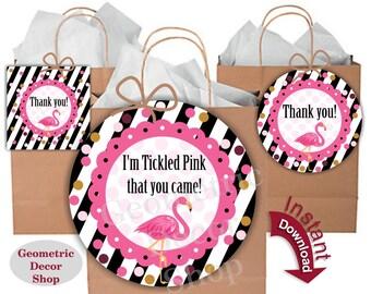 Flamingo Favor Tags, Tropical Birthday, Pool Birthday Party, Beach Party, Luau Birthday Pink Digital JPG File, Black stripes, Hawaiian FTFL1
