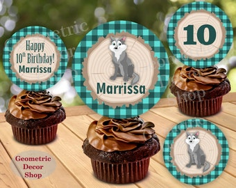 Great Wolf Lodge Woodland Birthday Cupcake Toppers Centerpiece Stickers Gift Tags Teal Plaid Girl bear fox Lumberjack Baby Shower CTLJ4