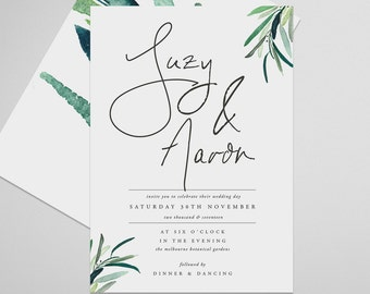 Leaves Wedding Invite . Ethereal . Printable Wedding Invitation, Printable Invite, DIY Wedding Invitation, Print at Home Invitation