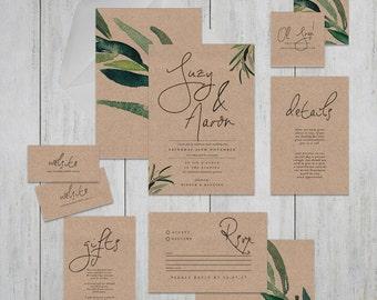 Printable Wedding Invitation Suite . Ethereal Kraft . Wedding Invitation, Printable Invite, DIY Wedding Invitation, Pencil, illustrate, leaf