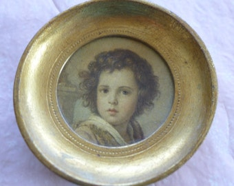 Vintage Small Gold Painted Wood Round Picture Frame