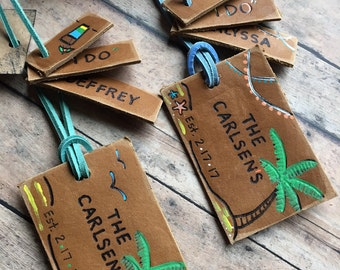 Leather Luggage Tags Wedding Favor, Luggage Tags in Bulk Wholesale Wedding Favor Gifts, Genuine Leather