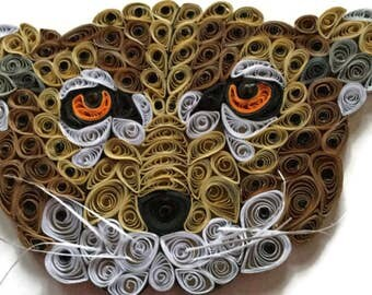 Cheetah Card, Wild Animal Portrait, Big Cat Card, Wildlife Picture, Cheetah Sculpture, Paper Artistry, Quilled Wild Animal, Cheetah Portrait