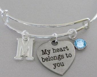 My Heart Belongs To You BANGLE - VALENTINE Day  Adjustable Bangle W/ Swarovski Birthstone Drop / Initial - Gift For Her Under 20 USA V1