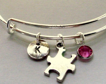 SILVER Autism Charm BANGLE  Awareness Puzzle Piece / Bangle Bracelet W/ Birthstone / Initial   Autism Jewelry Gift For Her Under 20 - Usa A1