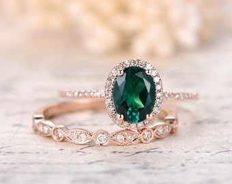 6x8mm Oval Emerald Ring Set Milgrain Wedding Band Bridal Wedding Ring Set 14k Rose Gold Emerald Engagement Ring Set,Diamond HALO,Milgrain