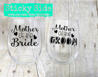 Mother of the Bride Glass | Brides Mother | Mother of the Groom Glass  | Wedding Gift for Mom | Grooms Mother | Wedding Gift | Wedding