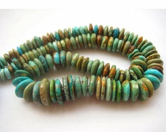 ON SALE 50% Turquoise Rondelle Beads, Turquoise Beads, Tibetan Turquoise Tyre Beads, 8mm To 14mm Plain Rondelles 7.5 Inch Half Strand, SKU-0