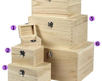 Wooden Treasure Chests Storage Pirate Boys Decorate Plain Trinket Choose Sizes