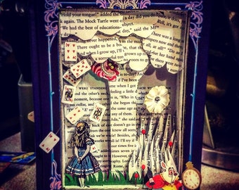 Alice in Wonderland Book Sculpture - Shadow Box - Paper Art - First Anniversary - For Him or Her - Nursery - Book Lover - Literary Gift