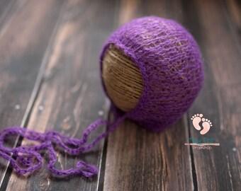 SALE Bright Purple Mohair Bonnet,Newborn Bonnet,Newborn Photo Prop,Newborn Hat,Photo Prop,Mohair Hat,Photography Prop,Mohair,Baby Bonnet