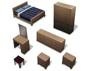 Bedroom #001 - ifunwoo miniature Paper Craft