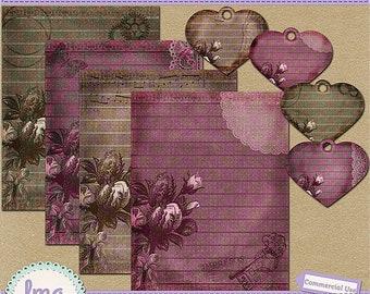 Vintage Rose Journal Papers, Junk Journal, Digital Scrapbooking, Shabby Chic, Vintage Scrapbook Papers, Instant Download, Commercial Use