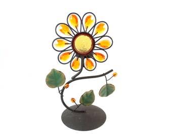 Vintage Tea Candle Light Holder - Vintage Tea Light Candle Holder - Sunflower Colourful Candle Holder - Kitsch Decor