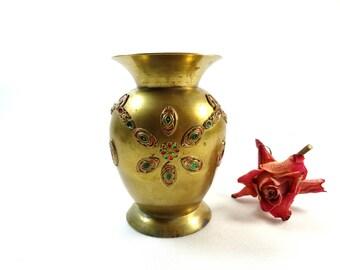 Brass Vase - Indian Flowerpot with Faux Gemstones - Brass Flower Vase - Vintage Boho Vase - Bohemian Decor - Indian style vase - Brass decor