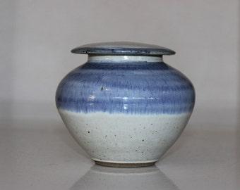 Blue Glazed Pottery Urn w/Lid
