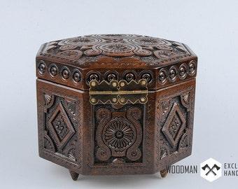 Wedding rings box, Wooden jewelry box, Gift for her, Jewelry box, Jewel-case, Carved wooden box, Jewelry storage, dark jewelry box
