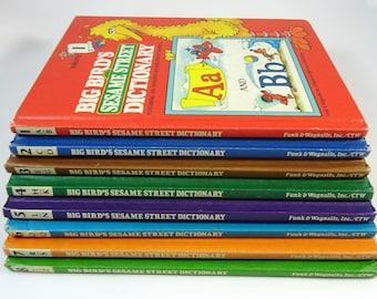 Big Bird's Sesame Street Dictionary Complete Set Alphabet Books Vintage 1980s
