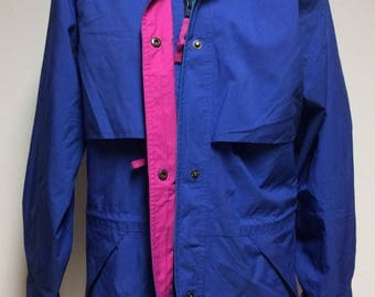 Vintage Eddie Bauer Womens Medium Blue Jacket Colorblock Vented Hood Pink Trim, Vintage Womens Outerwear