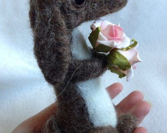 Bunny Rabbit with Pink Roses Ooak Soft Sculpture
