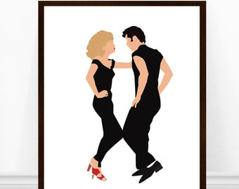 Grease Poster, Minimalist Poster, Danny and Sandy Dance Scene, Movie Poster, 1970s Movies, White Background