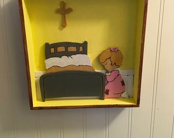 Shadow Box of a little girl praying