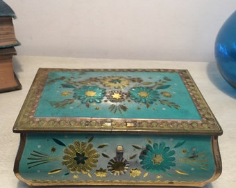 Vintage Blue and Gold Flowered Tin Victorian Style Storage Decor 1960s