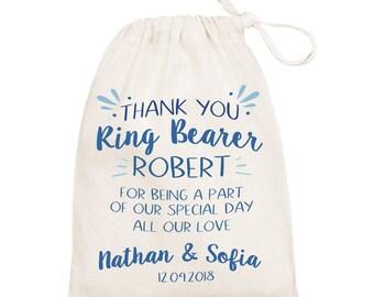 Ring bearer cotton gift bag. Wedding favor thank you cotton bag. Ring bearer keepsake bag.