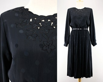 1970s Japanese Black Dotted Embroidered Dress/ Sheen Crinkled Fabric/ Long Sleeved Formal Dress/ Pleated Skirt/ Party Evening Dinner Chic S